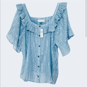 ANTHROPOLOGIE GLITTERY BLOUSE SIZE 2X NEW